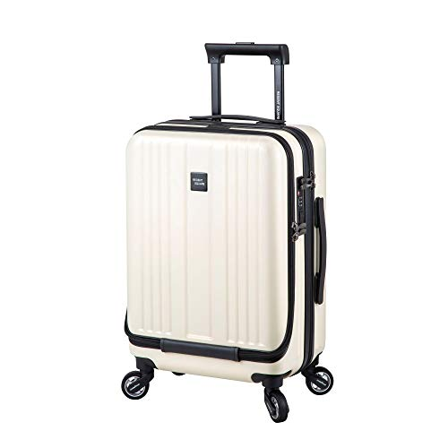New Storm Carry-on Luggage - TSA Combination Lock - Spinner Goodyear Wheels – Carry-on Front Laptop Compartment - YKK Zipper - Integrated USB Charging Hub - Milky White