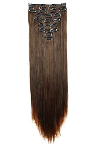PRETTYSHOP XXL 60cm 8 Teile Set CLIP IN EXTENSIONS Haarverlängerung Haarteil Glatt Braun Mix CES12