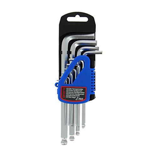 XL Tech 233416 Set de 10 Clés 6 pans 1,27/1,5/2/2,5/3/4/5/6/8/10 mm