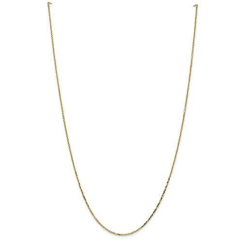 Tobillera de oro de 14 quilates de 1,4 mm de corte brillante, cadena de eslabones abiertos, para mujeres, 25 cm