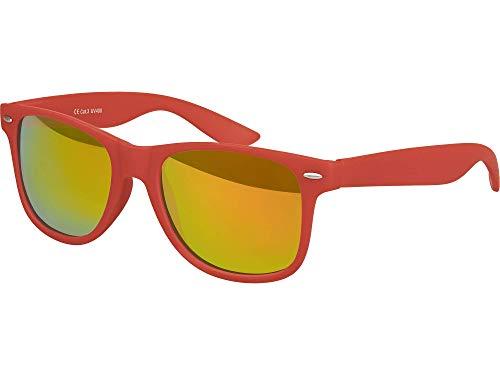 Balinco Balinco Hochwertige Nerd Sonnenbrille Rubber im Retro Stil Vintage Unisex Brille mit Federscharnier - 96 verschiedene Farben/Modelle wählbar (Dunkelrot - Rot/Orange verspiegelt)