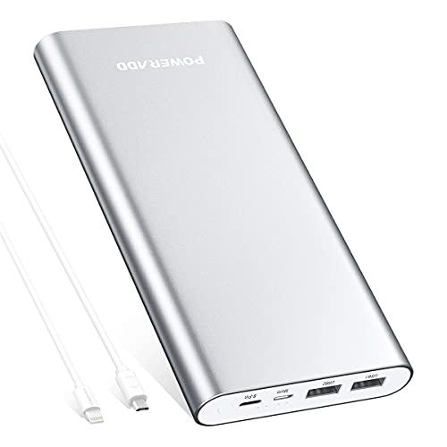 Powerbank 20000mAh, POWERADD Externer Akku mit Micro USB und Lightning Eingang, 2 USB Ausgänge jeden Anschluss Max. 3,0 A für iPhone, Samsung, Huawei, iPad