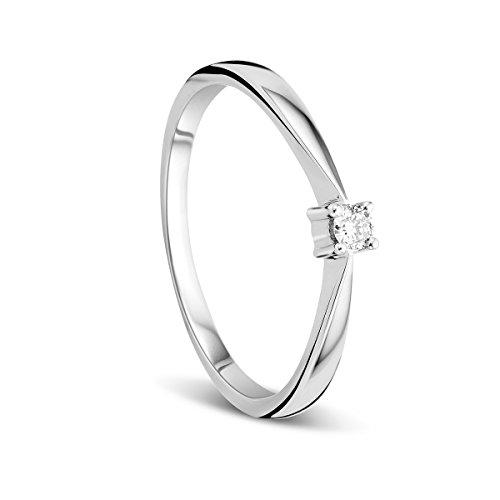 Orovi Anillo Señora Solitario en Oro Blanco con Diamante Talla Brillante 0.05 ct Oro 9 Kt / 375