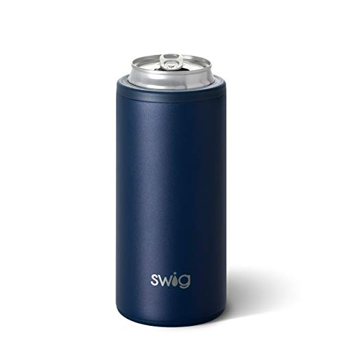 Swig Life Skinny Can Cooler, Stainless Steel, Dishwasher Safe, Triple Insulated Slim Can Sleeve for Beer & Hard Seltzers in 12oz Tall Skinny Cans in Matte Navy