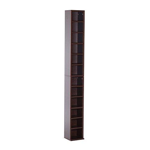homcom Mobiletto Porta CD da Parete con Mensole Semplice Elegante Funzionale in Legno Mobile Marrone 21 x 20 x 175cm