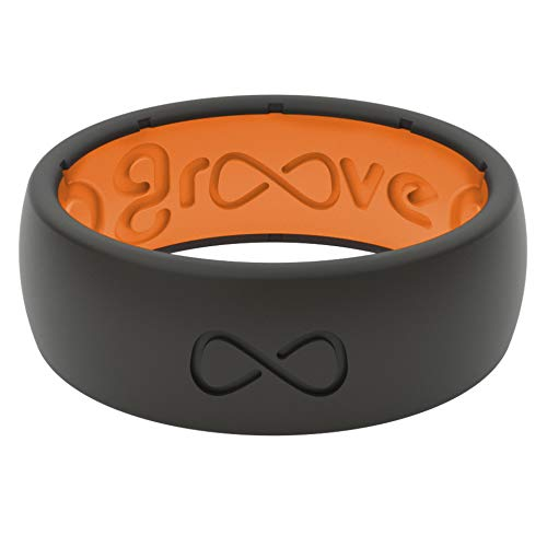 Groove Life - Silicone Ring for Men and Women Wedding or Engagement Rubber Band with Lifetime Coverage, Breathable Grooves, Comfort Fit, and Durability - Original Solid Midnight Black / Orange 09