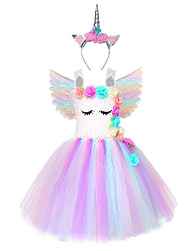 Cuteshower Girl Unicorn Costume, Baby Unicorn Tutu Dress Outfit Princess Party Costumes with Headband and Wings (5-6 Years, White)