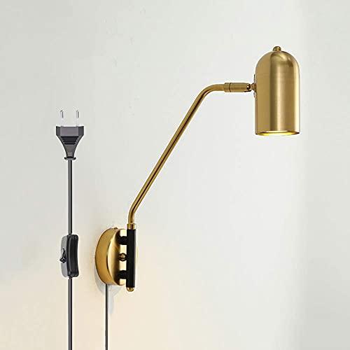 Aplique de pared, lámpara de pared LED de metal dorado, lámpara de pared de brazo largo ajustable con interruptor de lámpara de noche, estilo minimalista moderno, lámpara de pared E27 para dormitorio