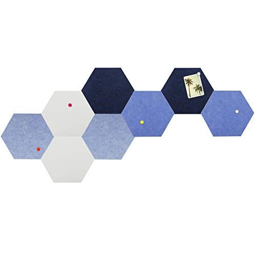 Hexagon Bulletin Board Tiles, Small Felt Pin Board for Enamel Pins Pictures, Damage-Free to Wall (5.9''×6.7''), as Office Classroom Home Decor, 1/3 Thickness, 8 PCS, 40 Pins (Blue)