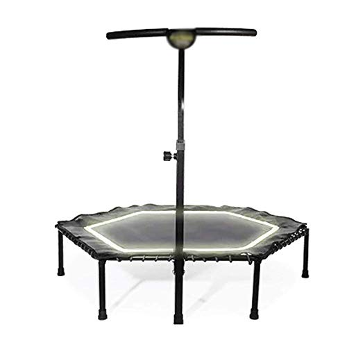 JGWHW Illuminate Silent Fitness Mini Trampoline with Adjustable Handrail Bar – Indoor Rebounder for Adults – Best Urban Cardio Jump Fitness Workout Trainer, Covered Bungee Rope System – Max Limit 286