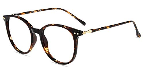 Firmoo Blaulichtfilter Brille ohne Sehstärke für Damen/Herren, Runde Computerbrille gegen Kopfschmerzen Antimüdigkeit, Blaulicht UV Schutzbrille, Entspiegelte Nerdbrille (Leoparden)