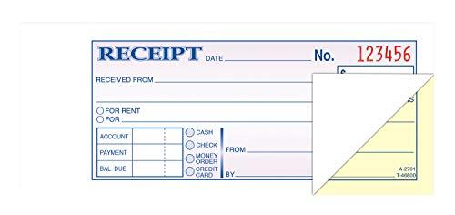 Money and Rent Receipt Books, 2-3/4 x 7-3/16, 2-Part Carbonless, 100 Sets/Book
