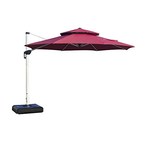 PURPLE LEAF 11ft Patio Umbrella Outdoor Round Umbrella Large Cantilever Umbrella Windproof Offset Umbrella Heavy Duty Sun Umbrella for Garden Deck Pool Patio, Burgundy