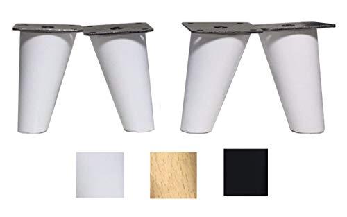 Piedini per mobili in legno faggio. Gambe affusolate con inclinazione e piastra di montaggio già installata. Colore naturale alto 8 cm (bianco)