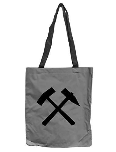 WB wohn trends Reflektor-Tasche Ruhrpott Schlägel & Eisen, grau-Silber REFLEKTIERT! Einkaufs-Beutel mit Innentasche, Einkaufstasche Tragetasche Shopper Shopping-Bag