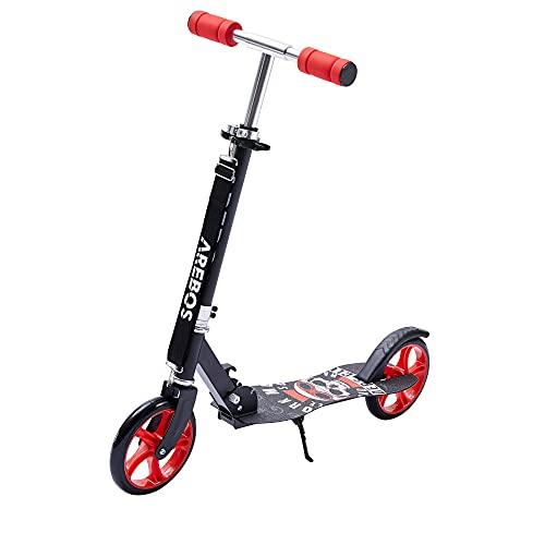 Arebos Tretroller Scooter | XXL Räder | Tragegurt & Seitenständer | rutschfeste Trittfläche | Höhenverstellbar | Tritt-Bremse | max. 100 kg | Rot