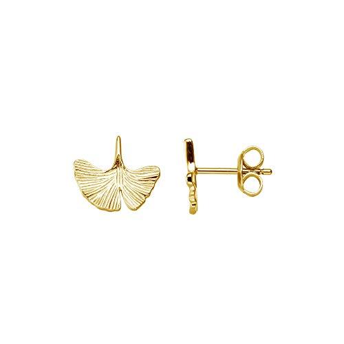 XENOX Ohrringe XS1980G Damen Ohrstecker Blatt Ginkgo Sterling-Silber 925 Gold