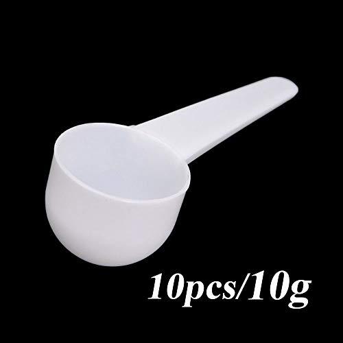 10 cucharas medidoras de 1/3/5/10 g de proteína de café, leche en polvo, cuchara de plástico para cocina 10g-10pcs