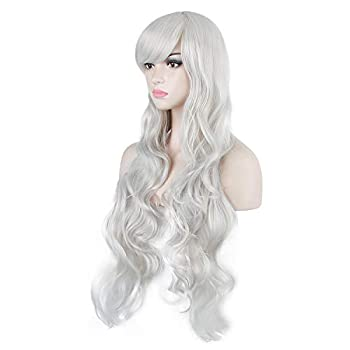 DAOTS 32  Cosplay Wigs Long Wig Hair Heat Resistant Curly Wave Hairs for Women Silver White