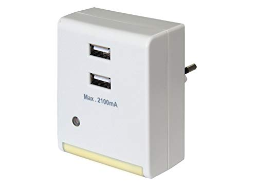 GAO EMN501USB Veilleuse à LED avec interrupteur crépusculaire et prise de charge USB en plastique Blanc 6.9 x 5.9 x 7.1 cm