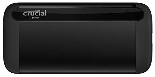 Crucial CT1000X8SSD9 1 TB X8 Portable SSD, Up to 1050 MB/s, USB 3.2, USB-C, USB-A, Black