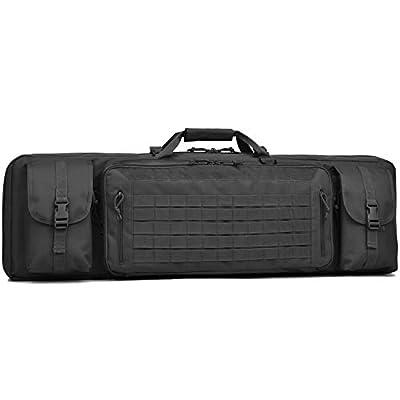 """BOW-TAC Double Long Rifle Gun Case Bag Tactical Rifle Backpack Pistol Soft Firearm Transportation Carbine Case - Lockable Compartment Black 42"""""""