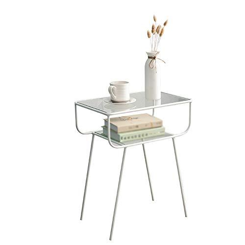Table family C-S-Qing-Escritorio Mesa De Centro De Vidrio, Mesa De Almacenamiento Multifuncional Home Hotel Dormitorio NightStand Metal Sofá Mesa(Size:48.5 * 33 * 60CM,Color:Blanco)