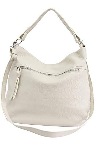 AmbraModa, borsa da donna in vera pelle, borsa a spalla, borsa a tracolla, borse a mano, borsa hobo GL031 (beige)