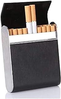 علبة لحفظ السجائر من الجلد والمعدن - تحمل 20 سيجارة - مع اغلاق مغناطيسي محكم