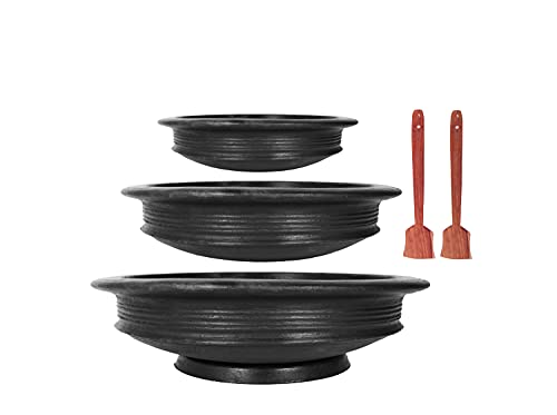 4U Craft India Online Pottery Earthen Kadai/Clay Pots Combo for Cooking and Serving Pre Seasoned(Black1,2,3 Liter)