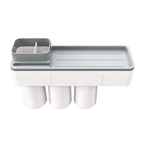 ATATMOUNT Kreativer Zahnbürstenhalter Magnetischer Saugmund Mundspülbecher Wandmontage Stempelfreies Aufbewahrungsregal Badezimmer Duschraumzubehör