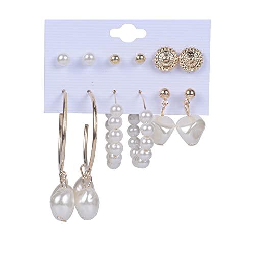 1 juego de pendientes de aro de Gilrs, pequeños pendientes de aro de perlas vintage