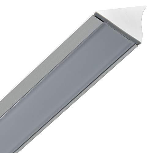 Gedotec Unterbauprofil Dreieck Aluminium-Profil LED-Profil 2500 mm Profilleisten für LED-Streifen | Alu silber eloxiert | Streuscheibe milchig matt | 1 Stück - Winkel-Profil schräg für Möbel-Schränke