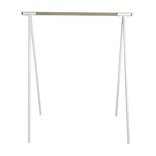 Natural Goods Berlin Kleiderständer Gard Design Garderobe freistehend | Metall Kleiderstangenhalterung für 30mm Rundstab | Massiv Holz Eiche stabil | DIY (mit 1m Kleiderstange, Weiß)