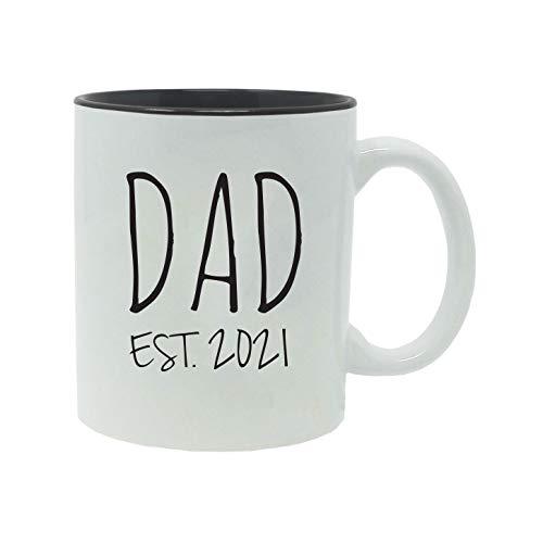Dad Established Est. 2021 11-Ounce Ceramic Coffee Mug with Gift Box (Black)