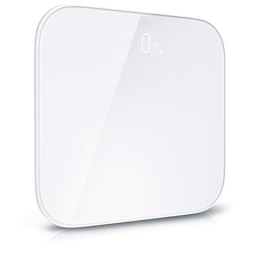 MyBeo - Bilancia pesapersone digitale - Bilancia digitale - Design moderno - In vetro - Display LCD - max. 180 kg - Scarto misurazione massimo 0,1 kg - bianco - bordi arrotondati