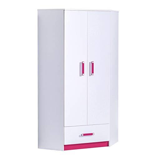 Furniture24 Eckkleiderschrank TRAFIKO 02, 2 Türiger Drehtürenschrank, Eckschrank mit 3 Einlegeböden, Kleiderstange und Schublade, Kleiderschrank für Jugendzimmer, Kinderzimmer (Weiß/Rosa)