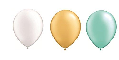 DeCoArt... Set 60 Luftballons perl Pastell Gold, perl weiß und perl Mint hellgrün je 20 ca. 28 cm und 60 Ballonverschlüsse Polyband weiß sowie EIN Aufblasventil sowei Infoblatt