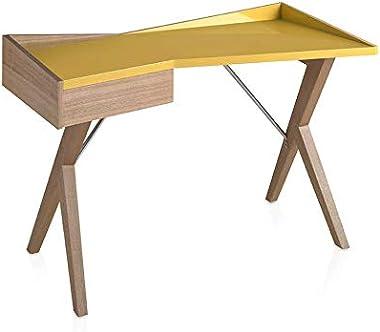 ANGEL CERDÁ - Bureau en bois de chêne et couvercle en bois laqué avec tiroir latéral, système de fermeture retardé, style mod