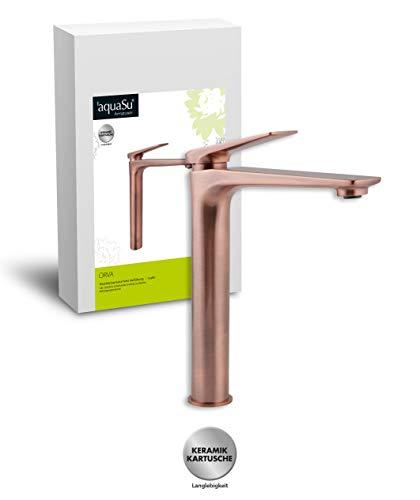 'aquaSu® Einhandmischer Orva für Waschtisch I Hoch I Kupfer I Wasserhahn für Aufsatzwaschbecken I Einhebelmischer I Armatur I Mischbatterie