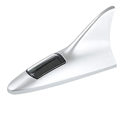 EEMHE Luz Trasera del Coche, Antena de Aleta de tiburón Solar, luz de Techo, luz Decorativa, luz de modificación de la Cola, luz Intermitente (Size : Silver)