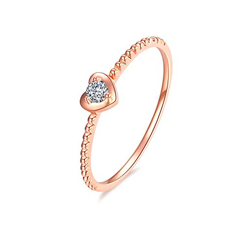 KnSam 18K Oro Rosa Anillo, Anillo de Confianza Corazón-Forma, Diamante Blanco, Color Oro Rosa - Talla 17