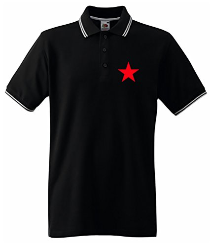 Red Star Black Tipped Polo poitrine Impression - Noir - L