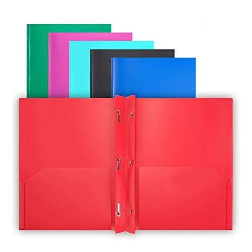 Comix Plastic 2-Pocket Folder with 3-Prong Letter Size Poly Folders with Brads File Portfolio Two Pockets Folders with Fasteners for Office School Folder (6 Assorted Fashion Colors)