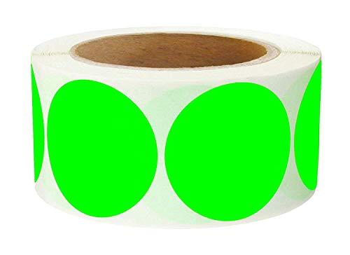 Carrelage et Autocollant 5,1 cm Pouce Rond Vert Fluo Code de Couleur Dot étiquettes – 500 coloré Cercle Stickers par Rouleau