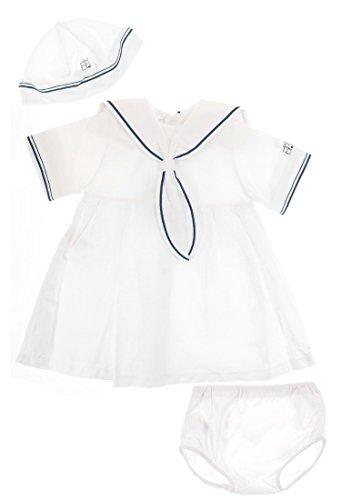 Emile et Rose Mädchen Leinen-Kleid festlich Weiß-Marine mit Hut und Hose, Festmode für Taufe & Hochzeit, Gr. 68 (68)