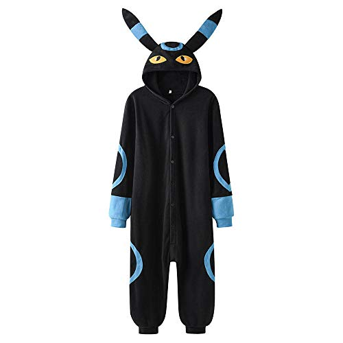 Pijama Mono Unisex Mujer Pareja Monos Invierno Lindo Traje De Pijama Kawaii-Umbreon Azul_SG