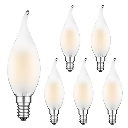 MZYOYO Confezione da 6 lampadine a LED E14 da 4 W, dimmerabili, a forma di candela, stile vintage, a forma di candela, 4 W, sostituisce 40 Watt, 400 lm, 2700 K, in vetro, dimmerabile, opache