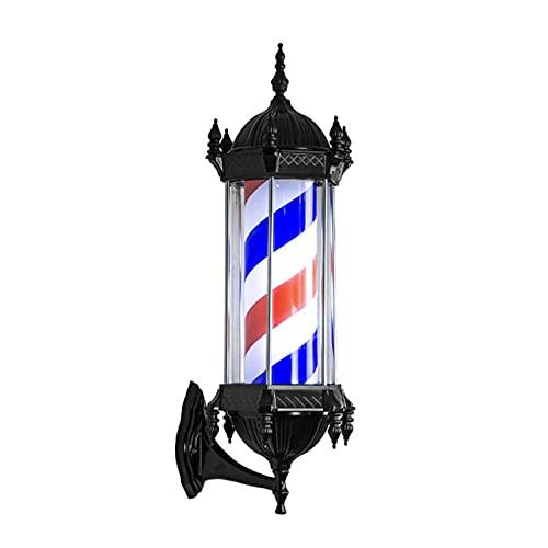 Poste De Peluquería Giratorio LED, Luz Giratoria De Rayas Impermeables Al Aire Libre Letrero para Peluquería, Luz De Pared, 15 W, 28,3 X 10,23 Pulgadas,Red White Blue