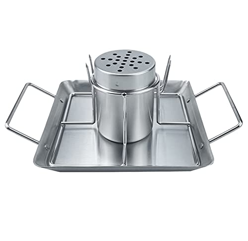 Glaray Supporto verticale per pollo, per grigliare, birra, pollo, in acciaio inox, accessorio per barbecue con 2 spiedini per verdure